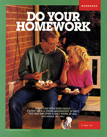"""A young man sitting and eating ice cream with his younger sister, paired with the words """"Do Your Homework."""""""