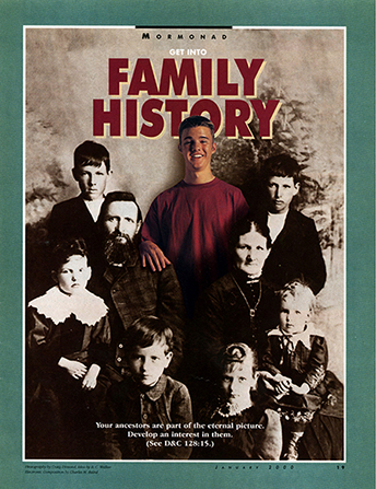 "An image of a young man in contemporary clothing standing among the figures in a historic photograph, paired with the words ""Get into Family History."""