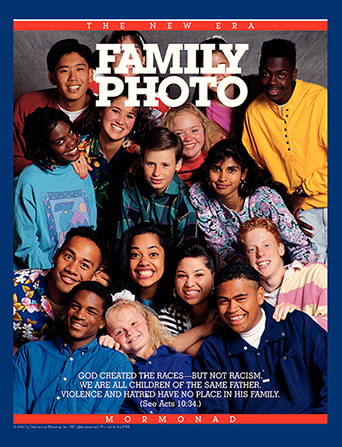 "A photograph showing youth from different backgrounds, paired with the words ""Family Photo."""