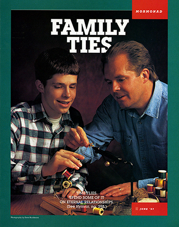 "A poster of a father and son making fishing flies together, paired with the words ""Family Ties."""