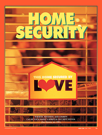 "An image of the window on a house with a sign that says, ""This Home Secured by Love,"" paired with the words ""Home Security."""