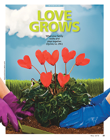 "A conceptual photograph showing two people planting a plant that has hearts growing on it, paired with the words ""Love Grows."""