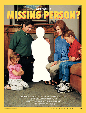 "A conceptual photo of a family praying with the silhouette of a missing person among them, paired with the words ""Are You a Missing Person?"""