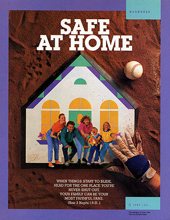 "A conceptual photograph showing a picture of a family being used as home plate on a baseball diamond, paired with the words ""Safe at Home."""