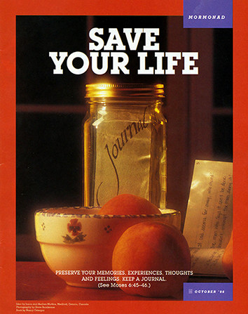 "A conceptual photograph showing the word ""Journal"" written on a piece of paper inside of a jar and the words ""Save Your Life"" printed overhead."