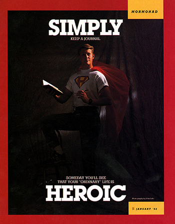 "A conceptual photograph of a young man in a hero shirt and cape writing in his journal, with the word ""Simply"" emphasized at the top and the word ""Heroic"" at the bottom."