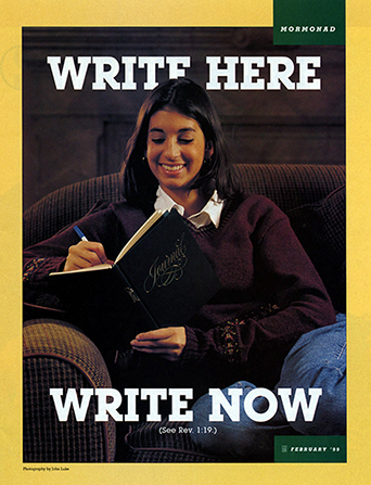 "A poster showing a young woman writing in a journal, paired with the words ""Write Here, Write Now"" printed on the top and bottom."