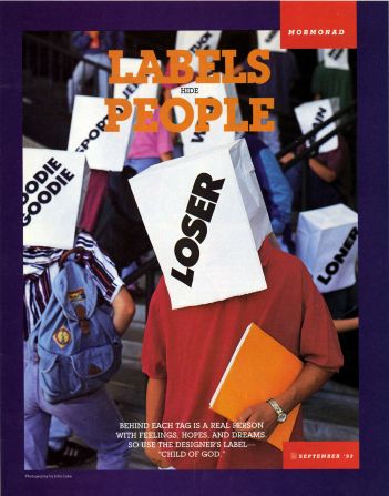 "A conceptual photograph of teens at a school walking around with labeled paper bags on their heads, paired with the words ""Labels Hide People."""