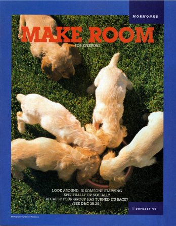 "A poster of four dogs eating together from a bowl with another dog left out, paired with the words ""Make Room for Everyone."""