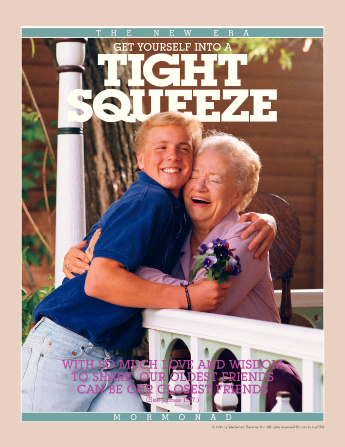 "A poster showing a young man holding flowers and hugging his grandmother, paired with the words ""Get Yourself into a Tight Squeeze."""
