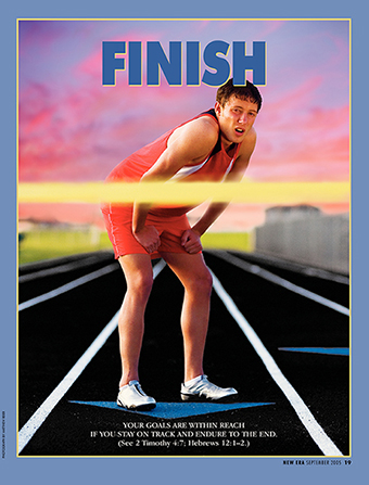 "A conceptual photograph of a runner standing still near the finish line, paired with the word ""Finish."""