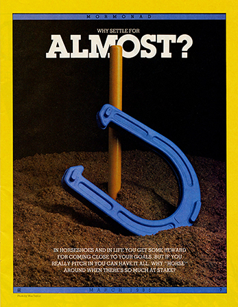 """An image of a horseshoe lying in front of a stake sticking up from the ground, paired with the words """"Why Settle for Almost?"""""""