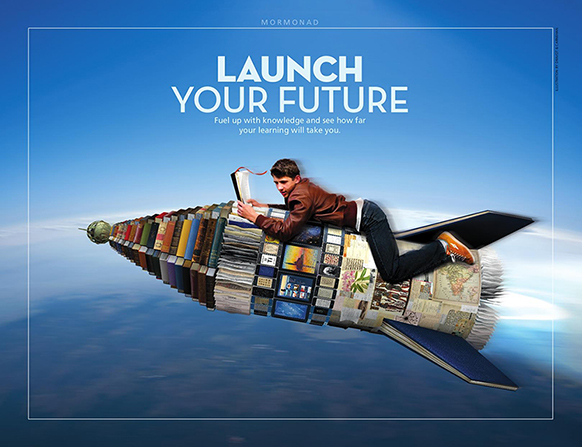 "A conceptual photograph of a young man reading scriptures while riding a rocket made of books, paired with the words ""Launch Your Future."""