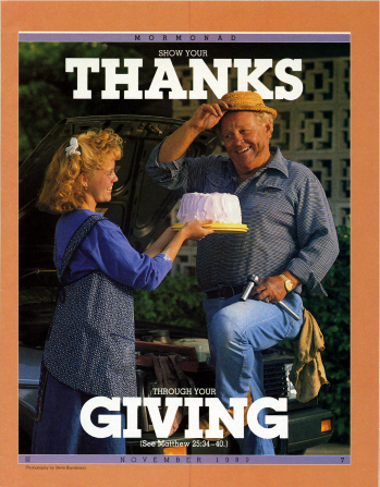 """A photograph of a young woman giving a cake to a man who is fixing a vehicle, paired with the words """"Show Your Thanks through Your Giving"""" at the top and bottom."""