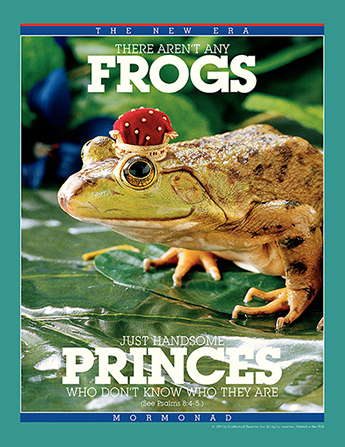 "A conceptual photograph of a frog wearing a crown, paired with the words ""There Aren't Any Frogs—Just Handsome Princes Who Don't Know Who They Are."""