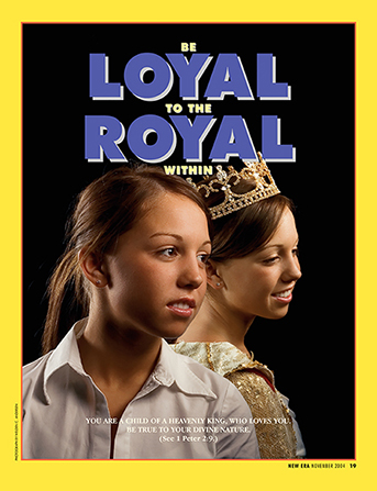 "A conceptual photo of a girl standing back to back with herself wearing a crown, paired with the words ""Be Loyal to the Royal Within."""