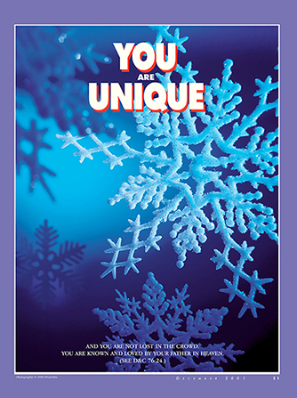 "A poster of several snowflakes in detail, paired with the words ""You Are Unique."""