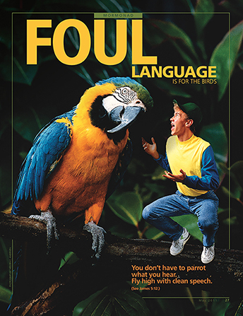 "A conceptual photograph showing a young man talking to a parrot, paired with the words ""Foul Language Is for the Birds."""