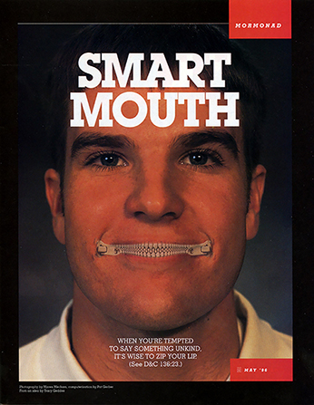 "A conceptual photograph of a young man with his mouth zipped shut, paired with the words ""Smart Mouth."""