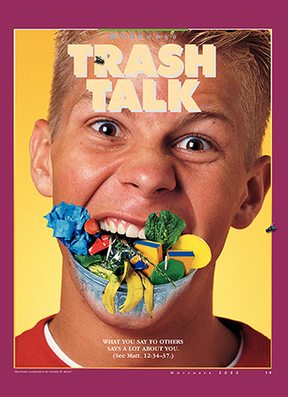 "A conceptual photograph of a young man with trash coming out of his mouth, paired with the words ""Trash Talk."""