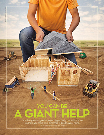 "A conceptual photograph showing a giant young man putting the roof on a house that is being built, paired with the words ""You Can Be a Giant Help."""