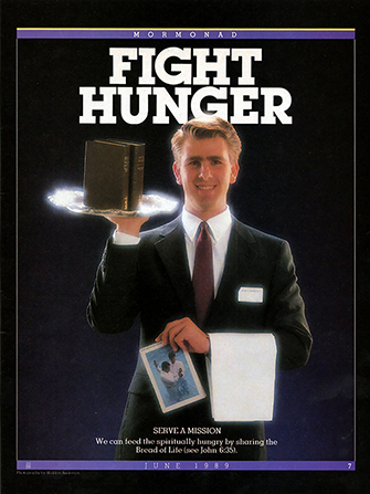 "A conceptual photograph of a missionary serving the scriptures on a restaurant platter, paired with the words ""Fight Hunger."""
