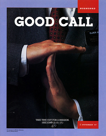 "A conceptual photograph showing a missionary making a ""time out"" signal with his hands, paired with the words ""Good Call."""