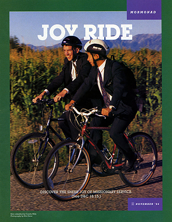 "A poster showing two male missionaries riding bikes down a road, paired with the words ""Joy Ride."""
