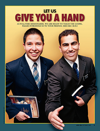 "A poster showing two male missionaries reaching out for a handshake, paired with the words ""Let Us Give You a Hand."""