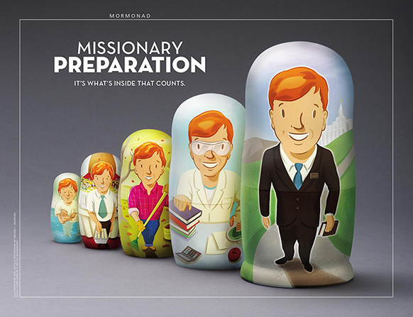 "A poster of nesting dolls outlining steps to mission preparation, paired with the words ""Missionary Preparation."""