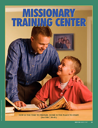 "A poster showing a father talking to his young son, who is reading Preach My Gospel, paired with the words ""Missionary Training Center."""