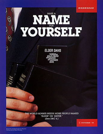 "A poster showing a missionary's name badge, paired with the words ""Make a Name for Yourself."""