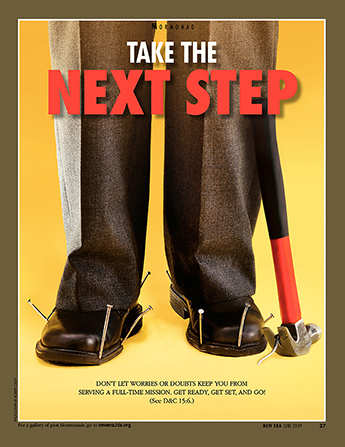 "A conceptual photograph showing a pair of dress shoes nailed to the ground, paired with the words ""Take the Next Step."""