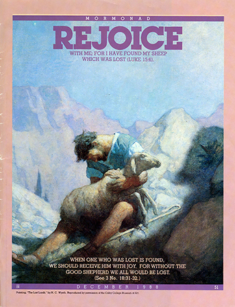 "A painting depicting a shepherd finding a lost lamb, paired with the word ""Rejoice."""