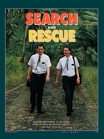 "A poster showing two male missionaries walking down a road, paired with the words ""Search and Rescue."""