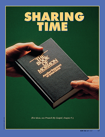 """A conceptual photograph showing a copy of the Book of Mormon being passed between two hands, paired with the words """"Sharing Time."""""""