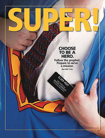 "A conceptual photograph of a missionary taking off a superhero shirt to reveal missionary attire, paired with the word ""Super!"""