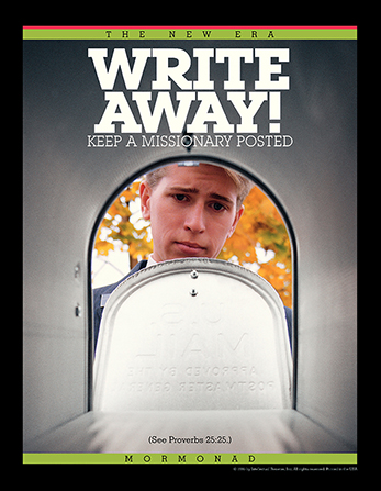 "A conceptual photograph showing a missionary looking sad while opening an empty mailbox, paired with the words ""Write Away!"""
