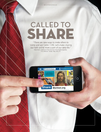 """A poster showing a young man in a white shirt and red tie sharing uplifting content on social media on his smartphone, paired with the words """"Called to Share."""""""