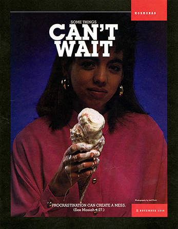 "A conceptual photograph of a young woman holding a melting ice cream cone, paired with the words ""Some Things Can't Wait."""