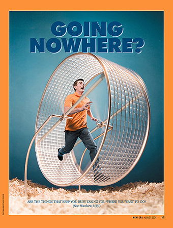 "A conceptual photograph of a young man running in a hamster wheel, paired with the words ""Going Nowhere?"""