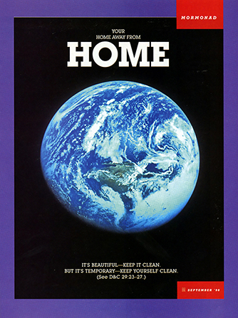 "A poster showing a view of the earth from space, paired with the words ""Your Home away from Home."""
