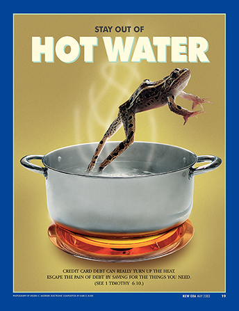 "A conceptual photograph showing a toad jumping out of a pot of hot water, paired with the words ""Stay out of Hot Water."""