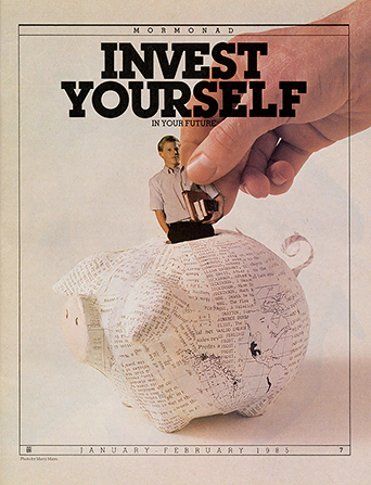 "A conceptual photograph of a hand placing a picture of a young man into a piggy bank, paired with the words ""Invest Yourself in Your Future."""