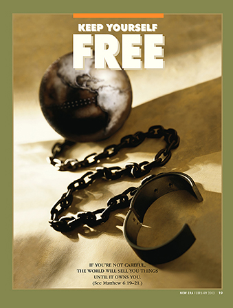 """A poster showing a ball and chain, paired with the words """"Keep Yourself Free."""""""