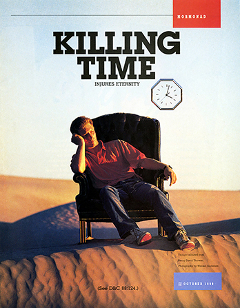 "A poster showing a young man sitting on a chair in the middle of a desert, paired with the words ""Killing Time Injures Eternity."""