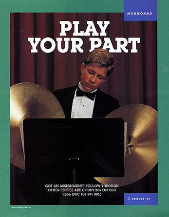 "A poster showing a young man in a band holding a pair of cymbals and falling asleep, paired with the words ""Play Your Part."""