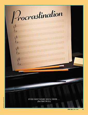 "A conceptual photograph of a page of sheet music titled ""Procrastination"" that has no notes on it."