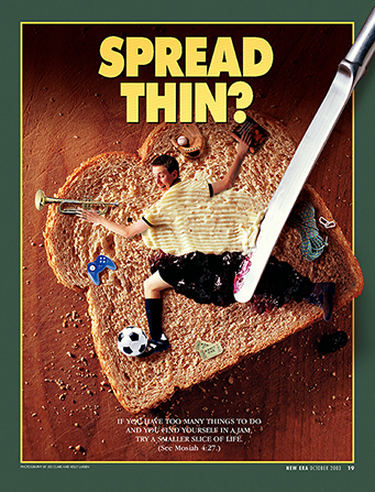 "A conceptual photograph showing a young man being spread onto a piece of bread, surrounded by several activities, paired with the words ""Spread Thin?"""