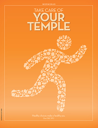 "A graphic showing the silhouette of a person filled with illustrations of healthy food, paired with the words ""Take Care of Your Temple."""